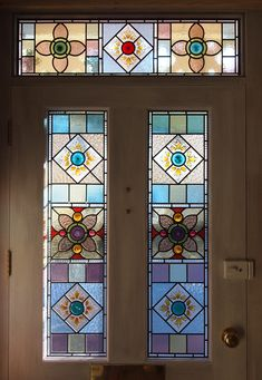 New Victorian-style Stained Glass Door panels made from salvaged glass by Flora Jamieson Stained Glass Door, Glass Front Door, Leadlight Windows, Glass Panel Door, Glass French Doors, Stained Glass, Stained Glass Mirror, Window Glass Design, Stained Glass Panels