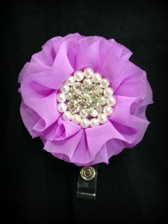 Hey, I found this really awesome Etsy listing at https://www.etsy.com/listing/199532420/lilac-chiffon-flower-badge-reel-id