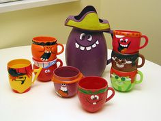 funny face cups... send in powdered drink mix packages to purchase each one