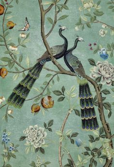 Inspired by Yves Saint Laurent's apartment, De Gournay hand painted St. Laurent wallpaper.