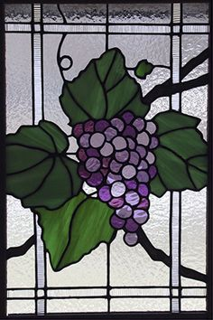 Stained glass grapes for kitchen cabinet