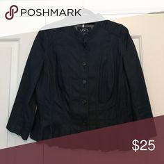 Jacket Dark denim; 3/4 length sleeves; peplum LOFT Jackets & Coats Blazers