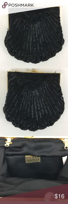 Carla Marchi vintage beaded bag SKU: SD15693 Carla Marchi Carla Marchi Carla Marchi Carla Marchi ITEM TITLE  Carla Marchi Black Beaded Clutch Coin Purse Brand: Carla Marchi Color: Black Style: Purse Condition: Pre-owned Width: 5.5 Material: Satin/Beads Height: 5.5 Adorable little vintage purse! It looks like it had a strap that has been removed. Carla Marchi Bags Mini Bags