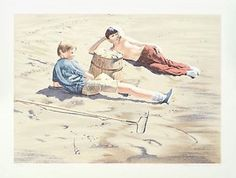 """William Nelson - """"The Beach Combers"""" Limited Edition Serigraph, Numbered  