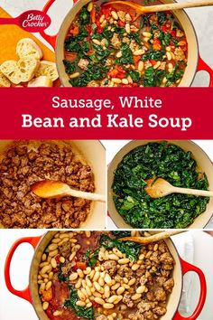This sumptuous soup uses a great combo of pantry staples and fresh ingredients to create a super satisfying meal. Kale Soup, Bowl Of Soup, Pasta Recipes, Cooking Recipes, White Beans, Crockpot Meals, Soups And Stews, Soul Food, Chowder