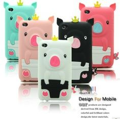 Hot Selling 3D Piggy Cartoon Silicone Case for iPod Touch 4 4TH
