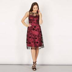 b8f287a202b Izabel London Wine sweetheart neck lace overlay dress