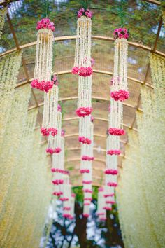 Mehendi Wedding Decor - Floral Ceiling Decor | WedMeGood  Grogeous Floral Decor For Mehendi Entrance with White & Pink Flowers. Find Many More Inspirations on wedmegood.com #wedmegood #decor #wmgdecor