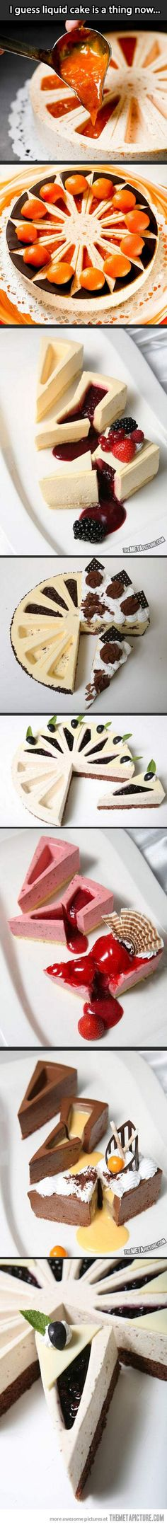 I'd eat it. I'd eat it. I'm thinking plain cheesecake with liquid strawberry :DLiquid cake? I'd eat it. I'm thinking plain cheesecake with liquid strawberry :D Just Desserts, Delicious Desserts, Yummy Food, Baking Desserts, Yummy Yummy, Sweet Recipes, Cake Recipes, Dessert Recipes, Cupcakes