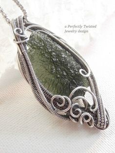 Sterling Silver, Moldavite Wire Wrapped and Wire Weaved Pendant by Perfectly Twisted Jewelry