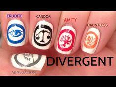 Divergent faction symbols (Erudite, Amity, Candor, Abnegation and Dauntless) nail art Divergent Tris, Divergent Tattoo, Divergent Drawings, Insurgent, Diy Nails, Cute Nails, Pretty Nails, Easy Nail Art, Cool Nail Art