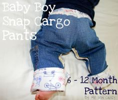 Baby Snap Cargo Pants - More Sizes! - The Sewing Rabbit Hopefully to fit over a cloth diaper! Baby Sewing Projects, Sewing For Kids, Sewing Ideas, Sewing Tutorials, Sewing Crafts, Free Tutorials, Fabric Crafts, Diy Projects, Snap Pants
