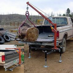 Removable Receiver Hoist, by J. King This is a stand to hold a hoist that is normally mounted on the Metal Projects, Welding Projects, Art Projects, Cool Tools, Diy Tools, Utility Trailer, Log Trailer, Iron Pipe, Homemade Tools