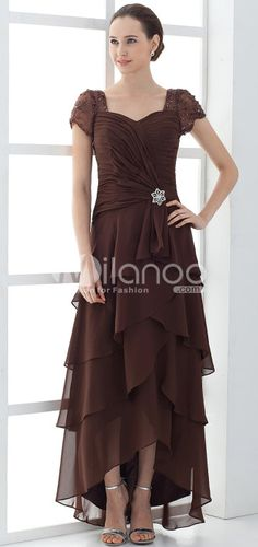 Gorgeous Sweetheart Short Sleeves Satin Chiffon Mother Of Bride And Groom Dress - Milanoo.com