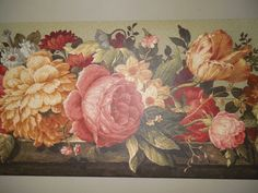 """Floral Bouquets Mums Roses Tulips  Wallpaper Border     15' x 9""""    NEW #Village"""
