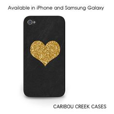 Gold Heart Phone Case - iPhone 5c Case in Gold Glitter - Gold Glitter... ($15) ❤ liked on Polyvore