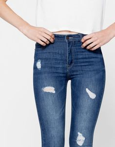 Pull&Bear - mujer - novedades - jeans skinny cropped fit - azul oscuro…