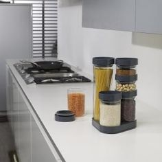 These stylish kitchen storage sets comprise individual glass jars of various sizes that all stack neatly together on their own rotating carousels. FoodStore™ is a set of 6 large jars perfect for storing dry foods such as tea, coffee, pasta and beans Glass Storage Jars, Jar Storage, Glass Jars, Storage Ideas, Tidy Kitchen, Stylish Kitchen, Kitchen Storage Solutions, Joseph Joseph, Pantry Organization
