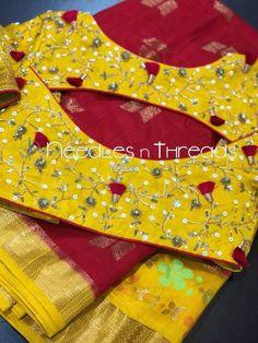 Elegant Designer Fancy Sari Blouse Designs - The Handmade Crafts Simple Blouse Designs, Stylish Blouse Design, Sari Blouse Designs, Designer Blouse Patterns, Bridal Blouse Designs, Latest Blouse Designs, Dress Designs, Saree Blouse, Blouse Neck