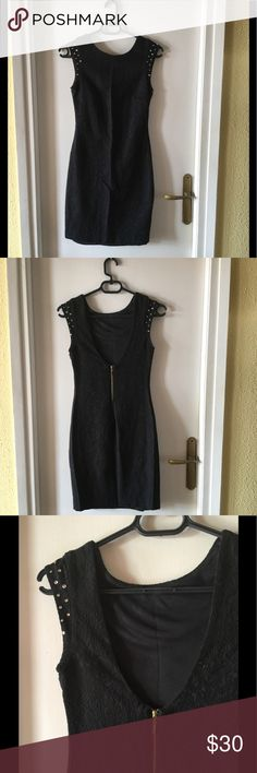 Black dress Black elegant dress with a lovely opened back and some details in the sleeve Zara Dresses Mini