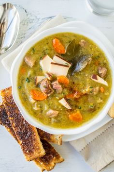 Split Pea Soup with Smoked Gouda (Slow Cooker) This easy recipe for Split Pea Soup can be made on the stove or in your slow cooker. The kick from a dash of chipotle powder and bites of Smoked Gouda keep things interesting. A cozy dinner for a lazy (or busy) day.