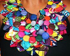 www.cewax.fr aime ce collier plastron style ethnique tendance tribale tissu africain wax