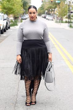 Plus Size Fashion – Fringe and Lace Ups – Beauticurve – Plus Size Models Plus Size Fashion For Women, Black Women Fashion, Plus Size Women, Plus Fashion, Womens Fashion, Petite Fashion, Classy Fashion, Fashion Fall, London Fashion