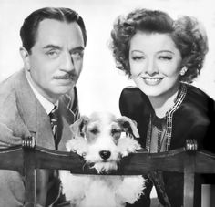 The Thin Man - The best series of films featuring a drunken detective. Staring William Powell and Myrna Loy. Also canine star Asta. Golden Age Of Hollywood, Vintage Hollywood, Hollywood Stars, Classic Hollywood, Hollywood Glamour, Fox Terriers, Wire Fox Terrier, Myrna Loy, Thin Man Movies
