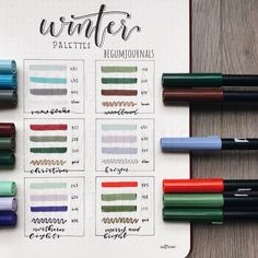 My favorite winter color combinations ✨ Which one is your favorite? Swipe to see the unedited version ✨ . Tombow Pens, Tombow Dual Brush Pen, Bullet Journal Notes, Bullet Journal Ideas Pages, Bujo Inspiration, Journal Inspiration, Bullet Art, Journal Aesthetic, Polychromos