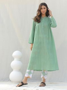 Buy Mint Green Cotton Kurta with Pants - Set of 2 online at Theloom Stylish Dresses For Girls, Stylish Dress Designs, Designs For Dresses, Modest Dresses, Simple Dresses, Simple Kurti Designs, Kurti Neck Designs, Kurta Designs Women, Kurti Designs Party Wear