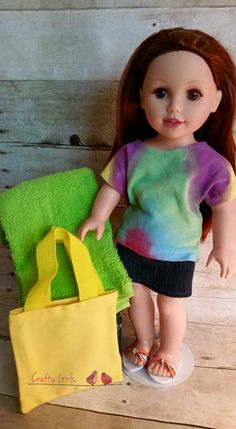 "18"" inch doll clothes, beach bag, flip flops, towel. Doll clothes fit 18"" dolls, doll jeans, maxi skirts, bracelets, rings, purses, flip flops, tote bags, beach bags, picnic baskets, sweaters, poodle skirts and more!"