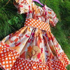 Thanksgiving, Fall outfit, Baby Dress,  toddler dress, Fox Dress, Orange Autumn Girls Dress.