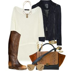 love all the elements in this  sunglasses: cool  dress: classy  boots: country  leather jacket:I'm here for the party