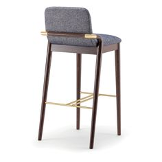 Grace 074 SG - Barstool with solid wood frame, available in a range of finishes with stylish arm detail in stainless steel, brass or black. Upholstered seat and back in fabric, leather or faux leather. Furniture Upholstery, Dining Furniture, New Furniture, Furniture Design, Dinning Chairs Modern, High Bar Stools, Kitchen Island Bar, Bar Chairs, Chair Design