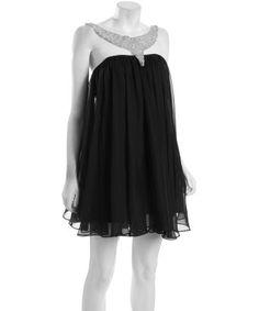 SUPER FLIRTY! -- A.B.S. by Allen Schwartz black chiffon embellished halter dress #ootd #scentstyle