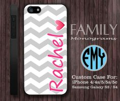 chevron pink and grey custom name monogram hard by familymonogram, $15.99