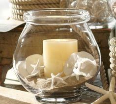 glas windlicht sand gefüllt kerzen seesterne