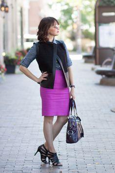 Fuchsia J.Crew skirt, faux fur shearling vest, cole haan sandals, YSL Muse bag, chambray shirt - details on http://redlipstickoptional.com/2015/09/23/a-little-bit-of-pink-a-little-bit-of-fur/