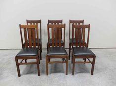 Set Of 6 Mission Solid Oak Slat Back Dining Chairs Antique Dining Chairs, Solid Oak, Mountain, Antiques, Furniture, Design, Home Decor, Antiquities, Antique