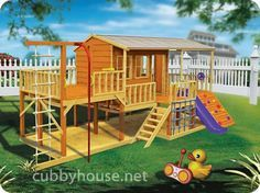 Playhouse With A Deck And Sand Pit. Wow | Sand Pit, Playhouses And Decking