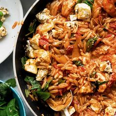 Yotam Ottolenghi's easy recipe for Orzo with Prawns, Tomato and Marinated Feta is the ideal quick weeknight pasta supper, made with simple ingredients that come together to create a mouthwatering summer dish. Orzo Recipes, Healthy Recipes, Quick Recipes, Fish Recipes, Vegetarian Recipes, Cooking Recipes, Ramen Recipes, Carrot Recipes, Broccoli Recipes