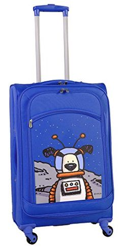 Ed Heck Moon Dog Spinner Luggage 25 Inch True Blue One Size ** Click image for more details.