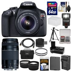Canon EOS Rebel T6 Wi-Fi Digital SLR Camera & 18-55mm IS II + 75-300mm III Lens + 64GB Card + Case + Flash + Battery & Charger + Grip + Tripod Kit. KIT INCLUDES 18 PRODUCTS -- All BRAND NEW Items with all Manufacturer-supplied Accessories + Full USA Warranties:. [1] Canon EOS Rebel T6 Wi-Fi Digital SLR Camera & EF-S 18-55mm IS II Lens + [2] Canon EF 75-300mm III Lens + [3] Canon 100ES Camera Case + [4] Transcend 64GB SDXC 300x Card +. [5] Spare LP-E10 Battery for Canon + [6] Battery…