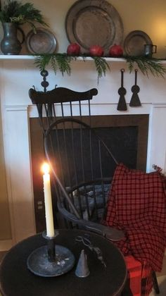 Prim Colonial Decor with Vintage Pewter on shelf...seating next to my kitchen fireplace...a girl can dream! ; ):