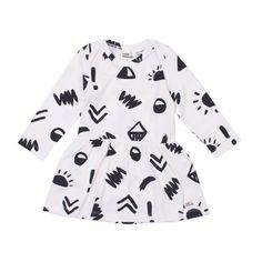 Milk & Masuki - Long Sleeve Bodysuit Dress - Glyphs - Meterage