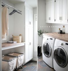 Let this light-filled laundry room inspire the next paint project in your home. We love how warmer accents and textures stand out beautifully against walls in Crushed Ice SW 7647.