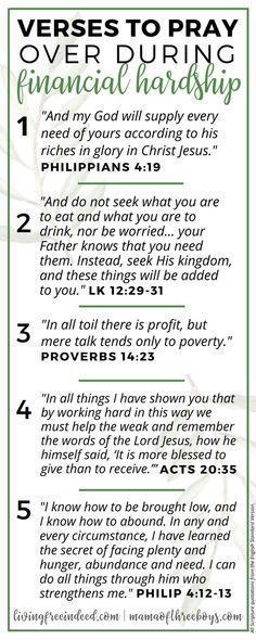 6 Verses To Pray During Financial Hardship - Free Indeed Prayer Times, Prayer Verses, My Prayer, Bible Verses, Prayer Board, Bible Prayers, Faith Prayer, Prayer Room, Prayer Closet