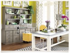 "Office Décor: A mix of patterns in the same color scheme makes your office uniquely ""you."""