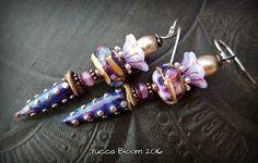 Lampwork Glass Earrings, Lampwork Headpins, Earthy Earrings, Flower Earrings, Ethereal, Organic, Fantasy, Beaded Earrings by YuccaBloom on Etsy