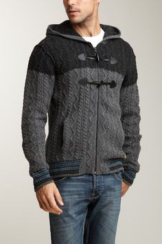 Zip Front Cable Sweater Hoodie